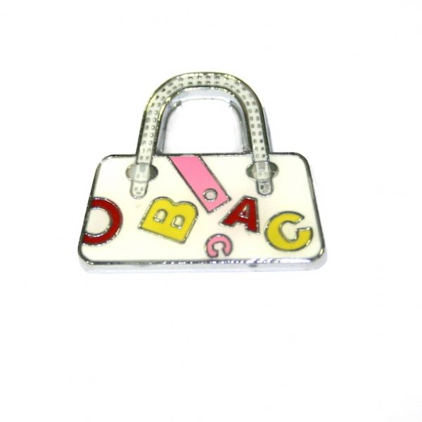 1pce x 24*22mm rhodium plated white handbag with letters enamel charm - SD03 - CHE1208